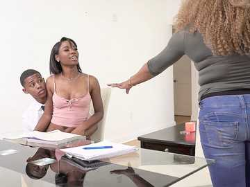 Ebony miss Mya Mays becomes a young teacher and a slut for her classmate