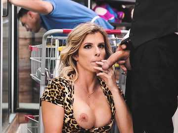 Public sex with Cory Chase and her old friend in a grocery store